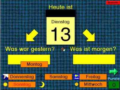 Grundschule Ambergerstraße Nürnberg Klasse 1b Die Wochentage